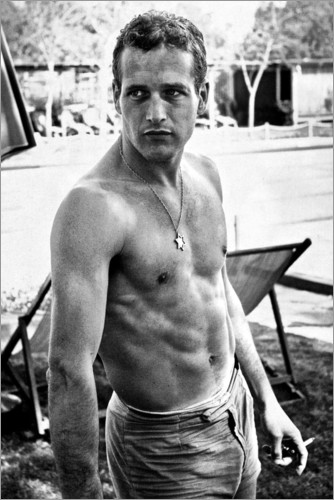 Premium poster Paul Newman - no shirt