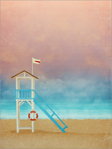 Premium poster Beach at sunset with life saver tower