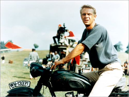 Premium poster Steve McQueen with motorcycle