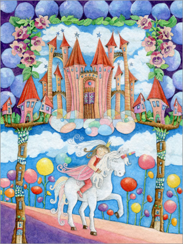 Premium poster Princess and the unicorn in the magic land