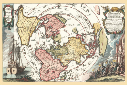 Premium poster World map with Magellan's circumnavigation 1702