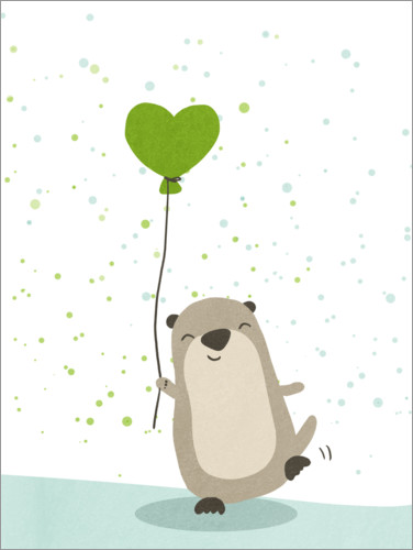 Premium poster Otter with balloon