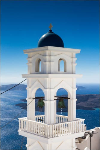 Premium poster Bell tower on Santorini