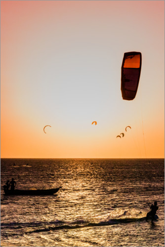 Premium poster Kitesurfing in the sunset