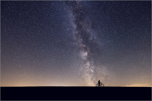 Premium poster Cyclist and the Milky Way