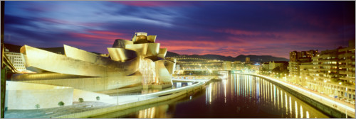 Premium poster Guggenheim Museum in Bilbao at night