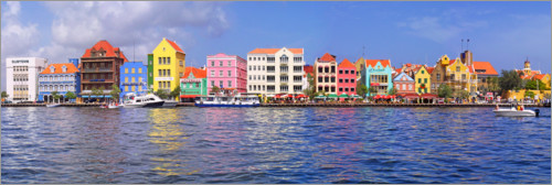Premium poster Colorful harbor buildings of Willemstad, Curacao