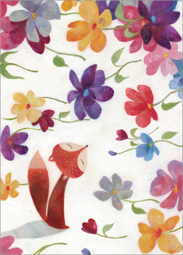 Premium poster Fox in a sea of flowers