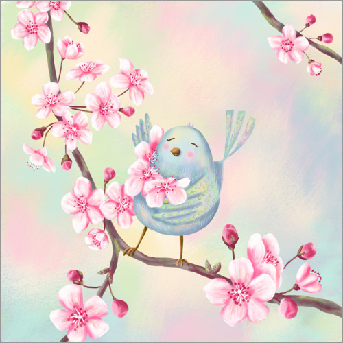 Wall sticker Bird with cherry blossoms