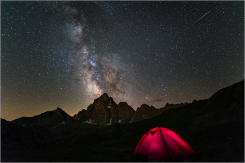 Premium poster Tent under the Milky Way at Monte Viso, Italy