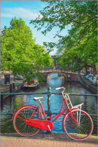 Premium poster Red bicycle in a canal of Amsterdam
