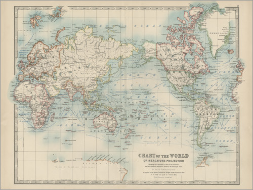 Premium poster World map 19th century