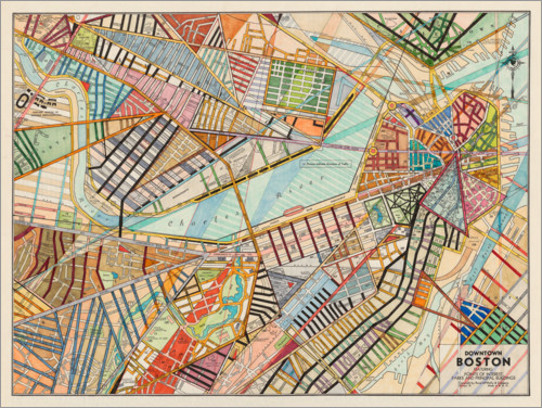 Premium poster Modern map of Boston