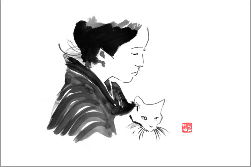 Premium poster Geisha with cat