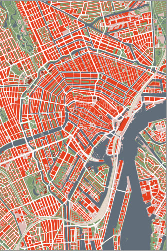 Premium poster Colourful city map of Amsterdam