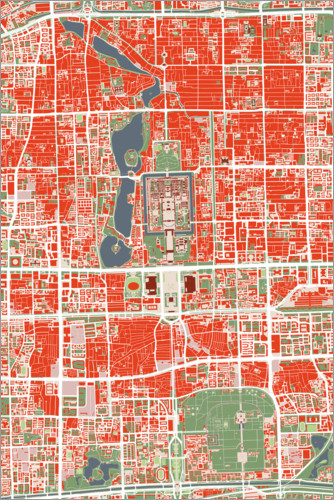 Premium poster City map of Beijing, colorful
