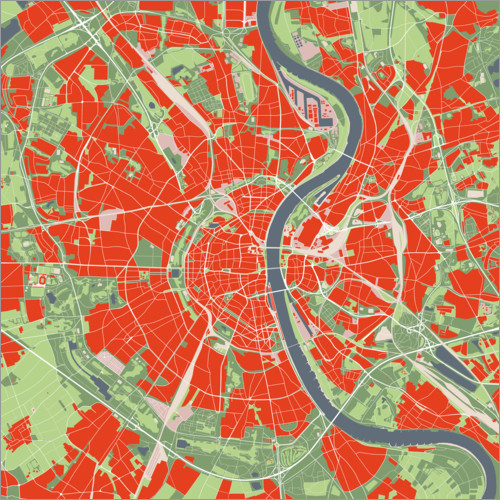 Premium poster City map of Cologne, colorful