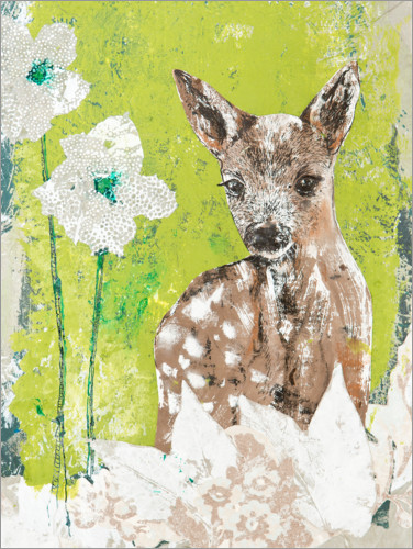 Premium poster Fawn with flowers