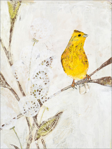 Premium poster Yellowhammer on a branch