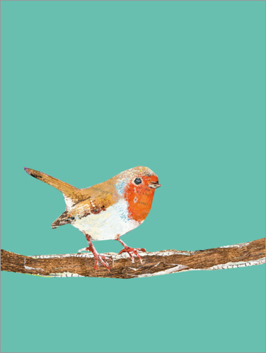 Premium poster Robin on a branch