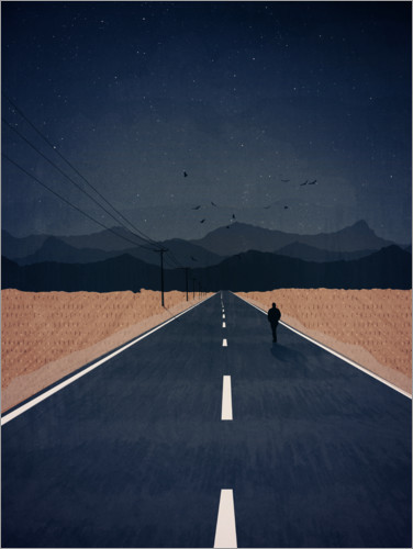 Premium poster Lonely Road to the Mountains