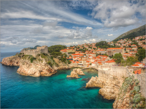 Premium poster Dubrovnik with the edge of the ocean