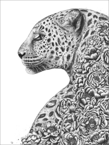 Premium poster Leopard with flowers