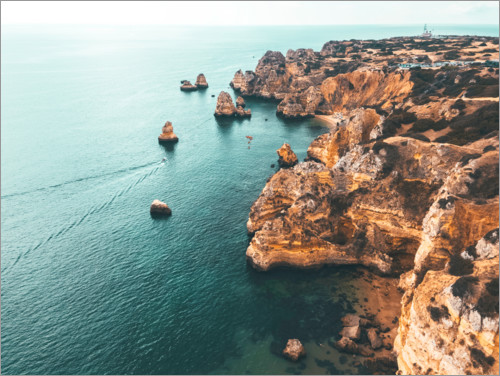 Premium poster Cliffs on the beach of Lagos, Portugal