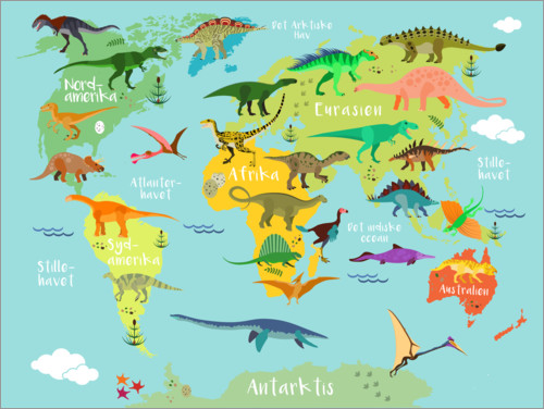 Premium poster World map of dinosaurs (danish)