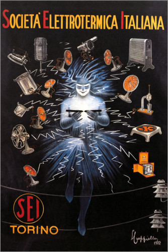Premium poster Electricity company (SEI) from Turin