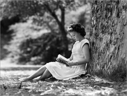 Premium poster Woman reading under a tree
