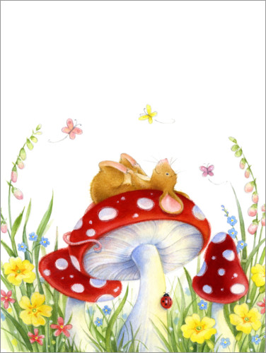 Premium poster Mouse on a fly agaric