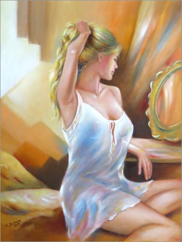 Premium poster Young woman at the mirror