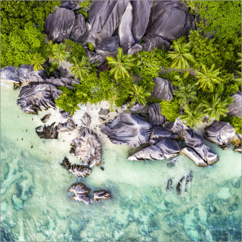 Premium poster Anse Source d'Argent from above