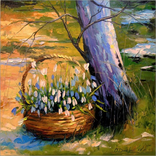 Premium poster Basket with snowdrops