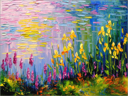 Premium poster Flowers at the summer pond