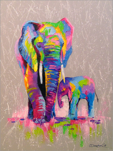 Premium poster Elephant mother with child