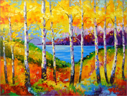 Premium poster Bright birches by the river