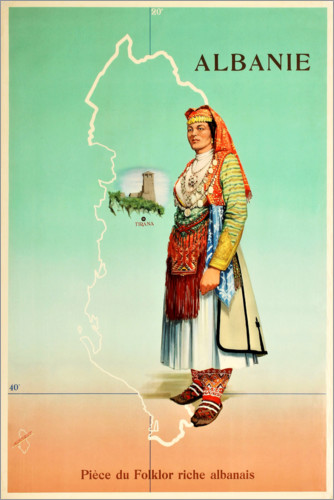 Premium poster Albania, a piece of rich Albanian folklore (French)