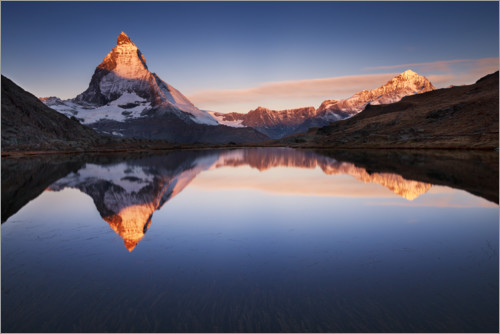 Premium poster Matterhorn with reflection in the mountain lake