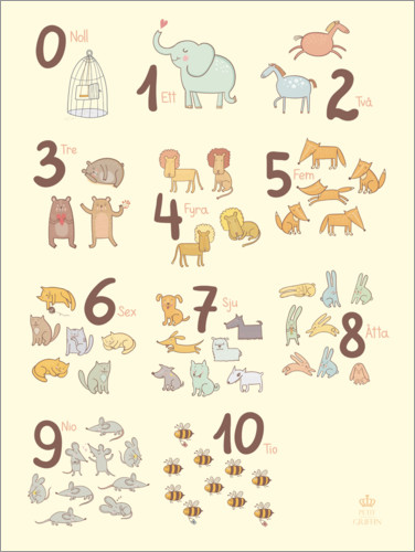 Premium poster Numbered animals (Swedish)