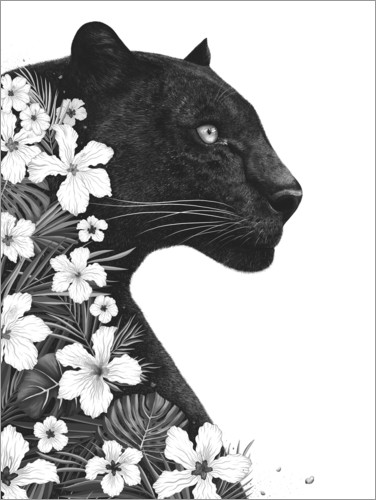 Premium poster Panther with flowers