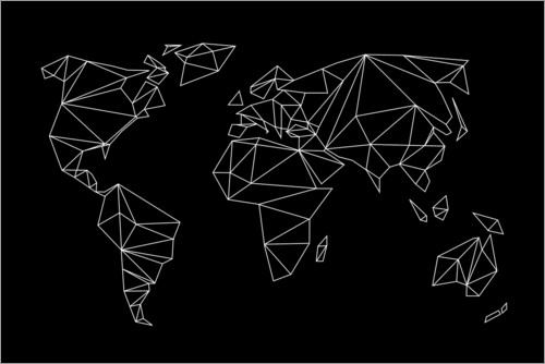 Premium poster Geometric world map, black