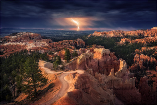 Premium poster Lightning strike over the Bryce Canyon