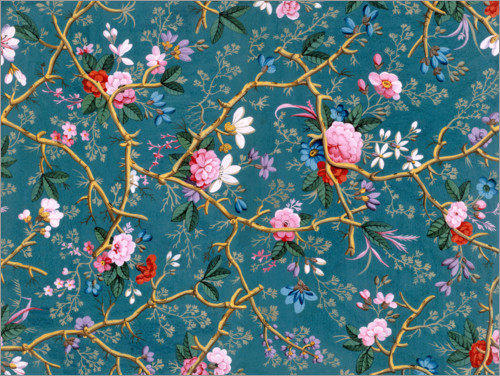 Premium poster Floral pattern in blue