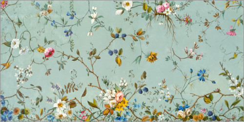 Premium poster Floral pattern in turquoise