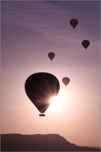 Premium poster Hot air balloons over mountain landscape