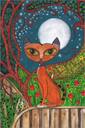 Premium poster The cat and the moon