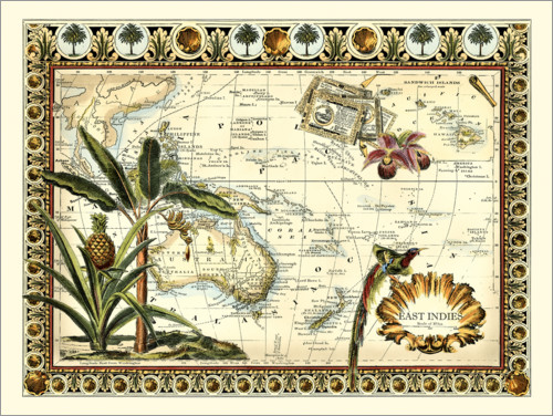 Premium poster Tropical Map of East Indies