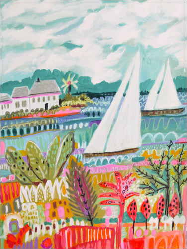 Premium poster Two Sailboats and Cottage II